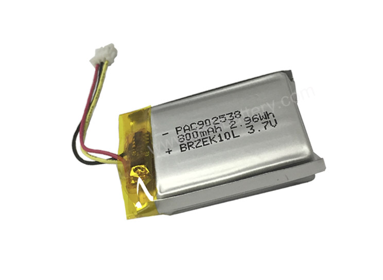 Custom soft pack pounch battery 902538 3.7V 800mAh 2.96Wh LiPo battery with PCM