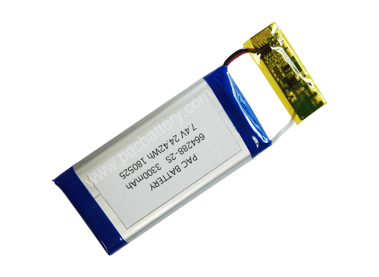 High capacity Li-ion polymer battery pack 664288-2S 7.4V batteries 3300mAh with customized PCM