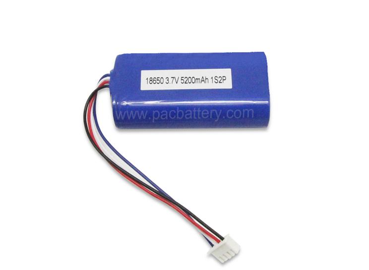 3.7V 18650 Lithium-Ionen-Batteriepack 2P 5200mAh für Haushaltsprodukte