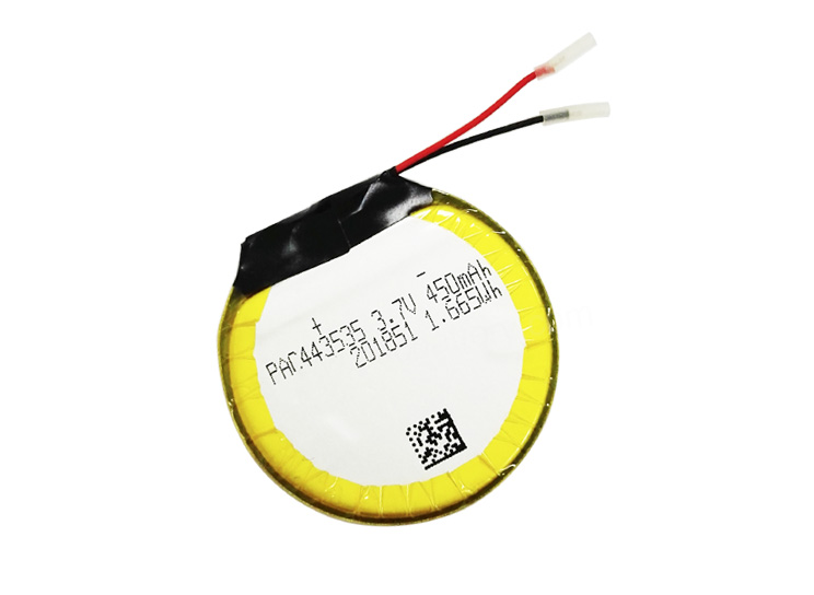 Batterie rechargeable au lithium-polymère ronde avec PCM 443535 3.7v 450mAh pour produits de consommation