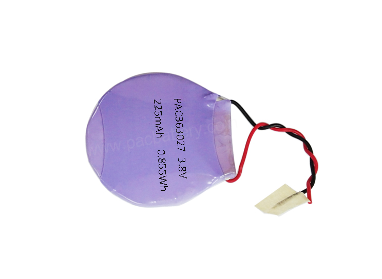 30mm diameter li polymer battery 363027 3.8v 225mAh round cell for wearable device