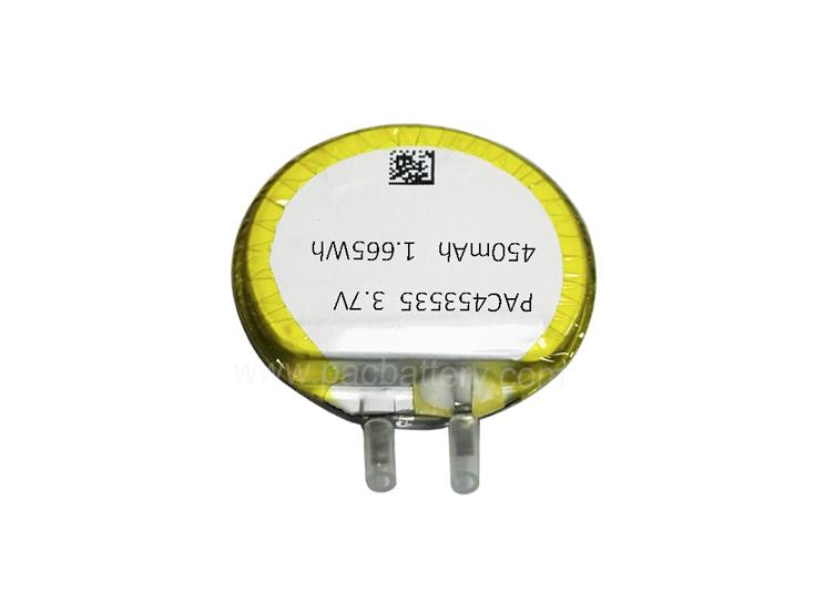 Перезаряжаемый круглые клетки литий ионный полимерный аккумулятор 453535 3.7v 450mAh для носимых устройств