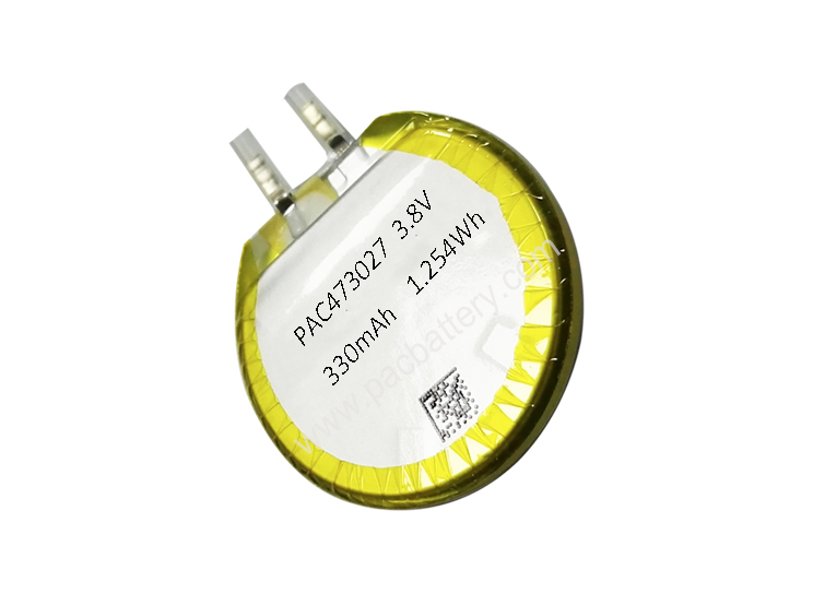 Round li ion polymer battery for smartwatch 3.8v 330mAh 473027 cell