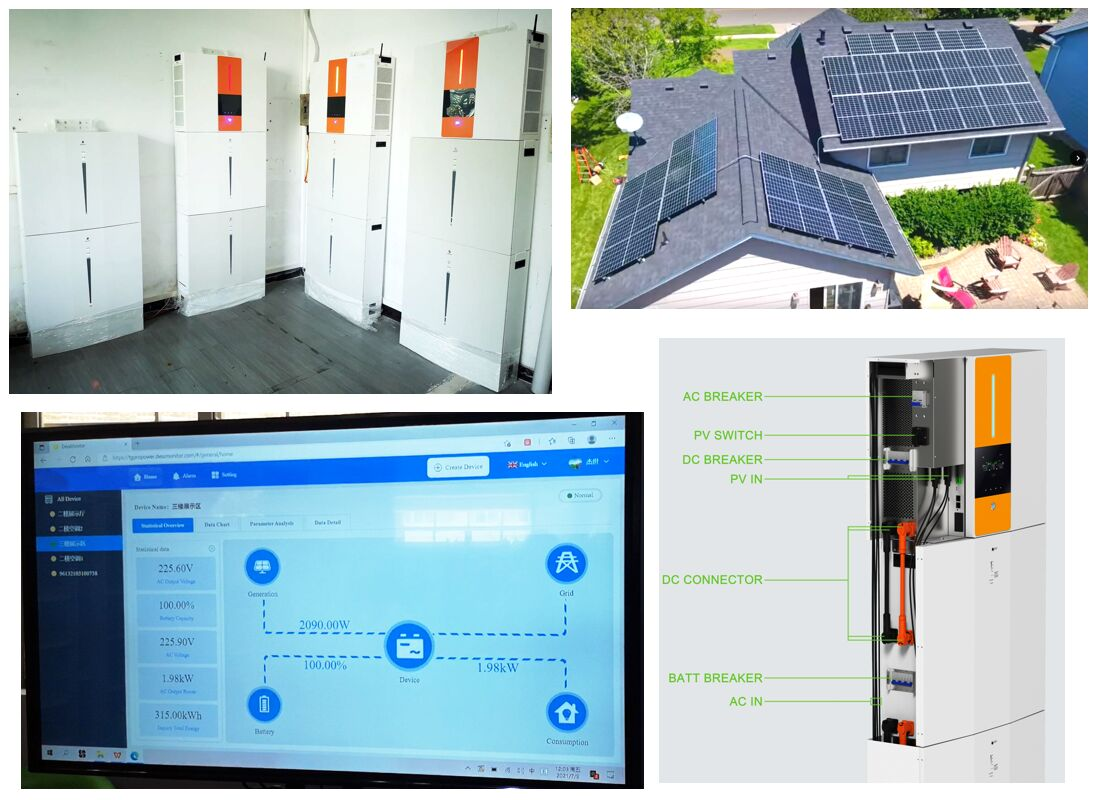Residential solar power system 60kWh all in one storage lithium battery 15kW output